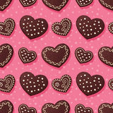 Gingerbread hearts pattern Royalty Free Stock Photos