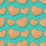 Gingerbread hearts pattern Royalty Free Stock Photography