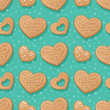Gingerbread hearts pattern Royalty Free Stock Images