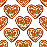 Gingerbread hearts seamless pattern Stock Images