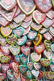 Gingerbread hearts sold on the Oktoberfest Royalty Free Stock Photos
