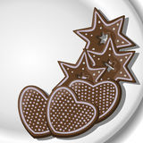 Gingerbread Hearts and Stars on a plate Stock Photo
