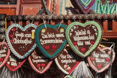 Gingerbread hearts at Theresienwiese in Munich, Germany, 2015 royalty free stock image