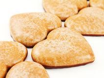 Gingerbread hearts on white Stock Photos