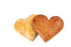 Gingerbread hearts on white background Royalty Free Stock Photos