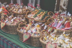 Gingerbread hearts in wicked basket at Budapest Christmas market Stock Image