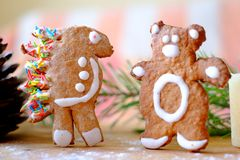 Gingerbread hedgehog and the bear Stock Photos