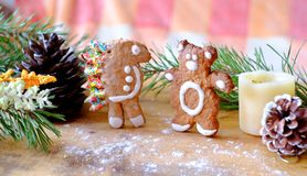 Gingerbread hedgehog and the bear Royalty Free Stock Photos