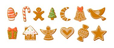 Free Gingerbread Holidays Cookies Font Alphabet. Christmas Or New Year Winter Food With Glazed Sugar. Gingerbread Cookies In Shape Of Royalty Free Stock Photos - 198428998