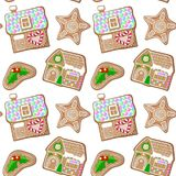 Gingerbread holly jolly and house  pattern. Cute Christmas gingerbread seamless pattern on white background. New Year seasonal decor. Christmas gift wrapping Royalty Free Stock Images