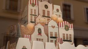 Gingerbread home cookies, gingerbread cookies shop window. Selling traditional handmade gingerbread and cookies and stock video