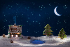 Gingerbread home at the night stock images