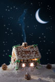Gingerbread home at the night Stock Photography