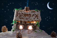 Gingerbread home at the night Royalty Free Stock Images