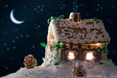 Gingerbread home at the night Royalty Free Stock Photos