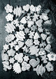 Gingerbread homemade cookies with icing colored drawings on wood Stock Images