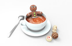 Gingerbread in a hot cup Stock Photos