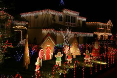 Gingerbread House. Beautifully decorated homes with Christmas lights Stock Image
