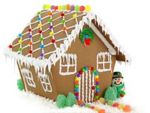 Gingerbread House. And Snowman on the White Background stock photos