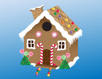 Gingerbread House. An illustration of a delicious homemade gingerbread house with gum drops, lollipops and candy canes Stock Illustration