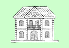 Gingerbread house architecture style, hand drawn vector design illustration. Gingerbread house architecture style, hand drawn vector art design illustration