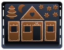 Gingerbread House Baking Plate Royalty Free Stock Photo