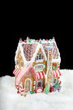 Gingerbread house on black Royalty Free Stock Image