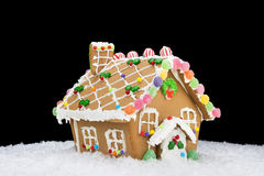 Gingerbread house on black Stock Images