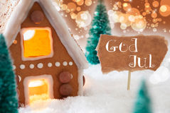 Gingerbread House, Bronze Background, God Jul Means Merry Christmas Royalty Free Stock Photography