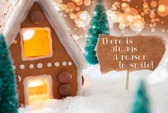 Gingerbread House, Bronze Background, Quote Always Reason To Smile Royalty Free Stock Photos