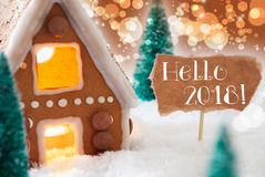 Gingerbread House, Bronze Background, Text Hello 2018 Stock Images