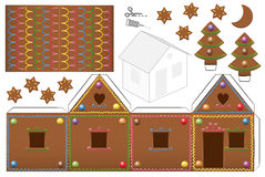Gingerbread House Candies Paper Model Stock Photo