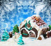 Gingerbread house and candy Stock Images