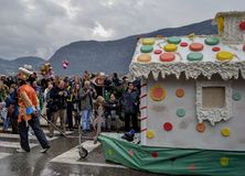 Gingerbread house in carnival. Kotor, Montenegro - March 1, 2015. Gingerbread house in traditional winter carnival Stock Images