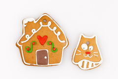 Gingerbread house  and  the cat Stock Image