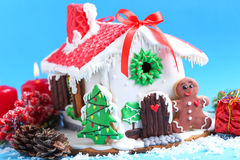 Gingerbread house. Christmas gingerbread house on blue background stock photography