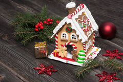 Gingerbread house, Christmas decoration stock photo
