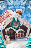 Gingerbread house Christmas decorations for the holiday Royalty Free Stock Photos