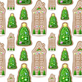 Gingerbread house and Christmas fir tree  seamless pattern. Christmas pattern swatch for wrapping paper or wallpapers. Gingerbread cookies regular ornament Royalty Free Stock Photo