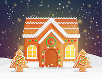 Gingerbread house Christmas night scene stock illustration