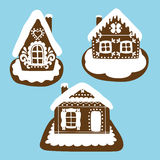 Gingerbread house in the Christmas traditions. Christmas festive gingerbread houses with traditional folk decorative design Stock Photos