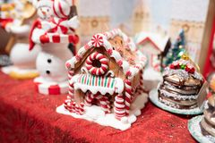 Gingerbread house Christmas tree decoration. Portland, OR / USA - December 15 2018: Gingerbread house Christmas tree decoration on the display in the gift shop stock image