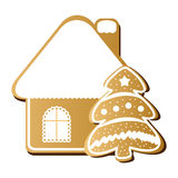 Gingerbread house and Christmas tree vector icon Stock Photography