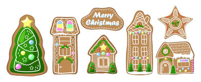 Gingerbread house clipart set. Cozy house, fir tree and star cookie Stock Photos
