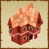 Gingerbread house closeup top view Royalty Free Stock Photography
