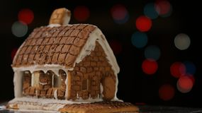 Gingerbread House Colored Lights stock images