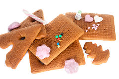 Gingerbread house components Royalty Free Stock Images