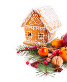Gingerbread house and decor royalty free stock photos