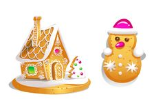 Gingerbread house decorated candy icing and snowman . Christmas cookies, traditional winter holiday xmas homemade baked sweet food. Illustration Royalty Free Stock Images