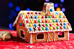 Gingerbread house decorated with colorful candies Royalty Free Stock Photography